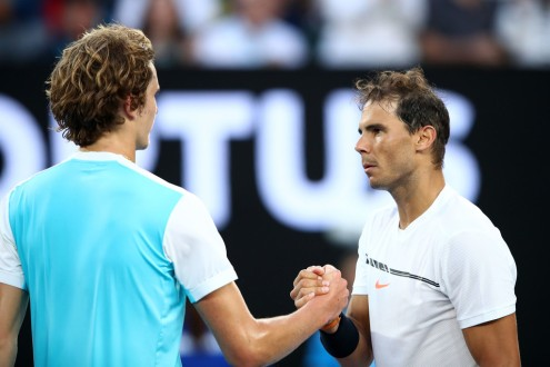 Rafael Nadal of Spain is congratulated by Alexander Zverev of Germany after their third round match on day six of the 2017 Australian Open at Melbourne Park on January 21, 2017 in Melbourne, Australia. (Jan. 20, 2017 - Source: Cameron Spencer/Getty Images AsiaPac)
