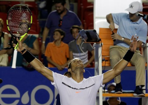 Tennis - Mexican Open - Men's Singles - Quarter-Final - Acapulco, Mexico- 02/03/17. Spain's Rafael Nadal celebrates his victory against Yoshihito Nishioka of Japan. REUTERS/Henry Romero
