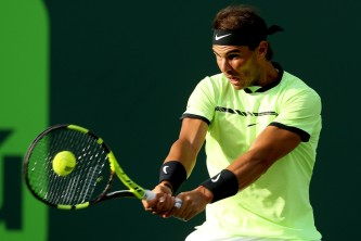 Rafael Nadal of Spain returns a shot to Dudi Sela of Israel during the Miami Open at the Crandon Park Tennis Center on March 24, 2017 in Key Biscayne, Florida. (March 23, 2017 - Source: Matthew Stockman/Getty Images North America)