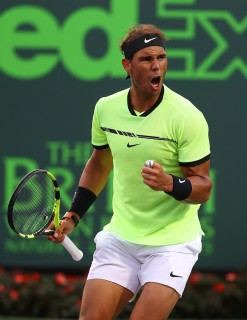 Rafael Nadal of Spain celebrates against Dudi Sela of Israel during day 5 of the Miami Open at Crandon Park Tennis Center on March 24, 2017 in Key Biscayne, Florida. (March 23, 2017 - Source: Al Bello/Getty Images North America)