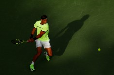 Rafael Nadal of Spain reterns a shot against Dudi Sela of Israel during day 5 of the Miami Open at Crandon Park Tennis Center on March 24, 2017 in Key Biscayne, Florida. (March 23, 2017 - Source: Al Bello/Getty Images North America)