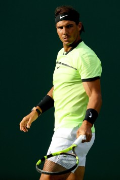 Rafael Nadal of Spain plays Dudi Sela of Israel during the Miami Open at the Crandon Park Tennis Center on March 24, 2017 in Key Biscayne, Florida. (March 23, 2017 - Source: Matthew Stockman/Getty Images North America)