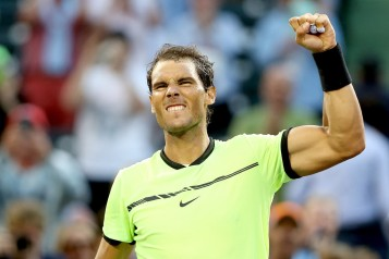 Rafael Nadal of Spain celebrates his win over Dudi Sela of Israel during the Miami Open at the Crandon Park Tennis Center on March 24, 2017 in Key Biscayne, Florida. (March 23, 2017 - Source: Matthew Stockman/Getty Images North America)