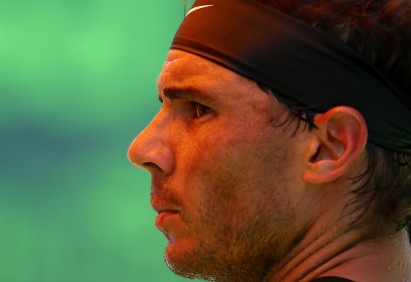 Rafael Nadal of Spain looks on against Fabio Fognini of Italy during Day 12 of the Miami Open at Crandon Park Tennis Center on March 31, 2017 in Key Biscayne, Florida. (March 30, 2017 - Source: Al Bello/Getty Images North America)