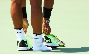 Rafael Nadal loses his shoe against Fabio Fognini during Day 12 of the Miami Open at Crandon Park Tennis Center on March 31, 2017 in Key Biscayne, Florida. (Al Bello/Getty Images)