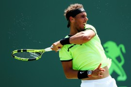 Rafael Nadal of Spain returns a shot against Fabio Fognini of Italy during Day 12 of the Miami Open at Crandon Park Tennis Center on March 31, 2017 in Key Biscayne, Florida. (March 30, 2017 - Source: Al Bello/Getty Images North America)