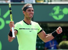 Rafael Nadal of Spain celebrates match point against Fabio Fognini of Italy during Day 12 of the Miami Open at Crandon Park Tennis Center on March 31, 2017 in Key Biscayne, Florida. (March 30, 2017 - Source: Al Bello/Getty Images North America)