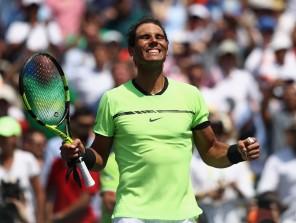 Rafael Nadal of Spain celebrates defeating Fabio Fognini of Italy in the semi finals at Crandon Park Tennis Center on March 31, 2017 in Key Biscayne, Florida. (March 30, 2017 - Source: Julian Finney/Getty Images North America)