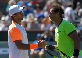 Rafael Nadal, of Spain, right, greets Fernando Verdasco, of Spain, after their match at the BNP Paribas Open tennis tournament, Tuesday, March 14, 2017, in Indian Wells, Calif. Nadal won 6-3, 7-5. (AP Photo/Mark J. Terrill)