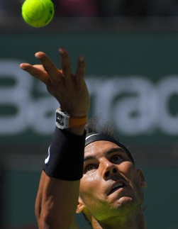 Rafael Nadal, of Spain, serves to Fernando Verdasco, of Spain, at the BNP Paribas Open tennis tournament, Tuesday, March 14, 2017, in Indian Wells, Calif. (AP Photo/Mark J. Terrill)