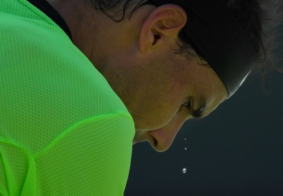 Sweat falls from the face of Rafael Nadal, of Spain, as he plays Fernando Verdasco, of Spain, at the BNP Paribas Open tennis tournament, Tuesday, March 14, 2017, in Indian Wells, Calif. (AP Photo/Mark J. Terrill)