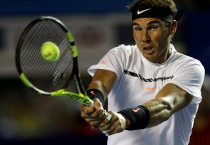 Tennis - Mexican Open - Men's Singles - First Round - Acapulco, Mexico - 28/2/17. Spain's Rafael Nadal in action against Germany's Mischa Zverev. REUTERS/Henry Romero