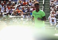 Rafael Nadal of Spain celebrates winning a point against Nicolas Mahut of France at Crandon Park Tennis Center on March 28, 2017 in Key Biscayne, Florida. (March 27, 2017 - Source: Julian Finney/Getty Images North America)