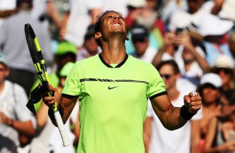 Rafael Nadal of Spain celebrates match point against Nicolas Mahut of France during Day 9 of the Miami Open at Crandon Park Tennis Center on March 28, 2017 in Key Biscayne, Florida. (March 27, 2017 - Source: Al Bello/Getty Images North America)
