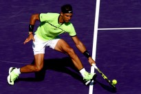 Rafael Nadal of Spain returns a shot to Nicolas Mahut of France during the Miami Open at the Crandon Park Tennis Center on March 28, 2017 in Key Biscayne, Florida. (March 27, 2017 - Source: Matthew Stockman/Getty Images North America)