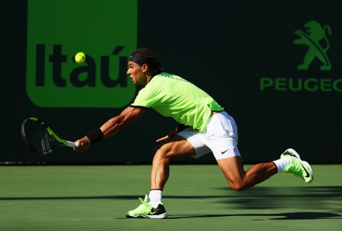 Rafael Nadal of Spain returns a shot against Nicolas Mahut of France during Day 9 of the Miami Open at Crandon Park Tennis Center on March 28, 2017 in Key Biscayne, Florida. (March 27, 2017 - Source: Al Bello/Getty Images North America)