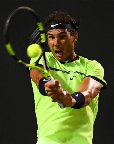 Rafael Nadal of Spain returns a shot during a match against Jack Sock at Crandon Park Tennis Center on March 29, 2017 in Key Biscayne, Florida. (March 28, 2017 - Source: Rob Foldy/Getty Images North America)