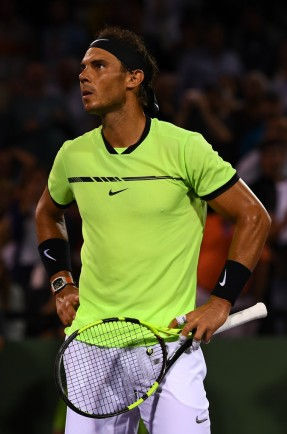 Rafael Nadal of Spain looks on during a match against Jack Sock at Crandon Park Tennis Center on March 29, 2017 in Key Biscayne, Florida. (March 16, 2017 - Source: Rob Foldy/Getty Images North America)