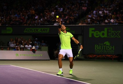 Rafael Nadal of Spain serves the ball during a match against Jack Sock at Crandon Park Tennis Center on March 29, 2017 in Key Biscayne, Florida. (March 16, 2017 - Source: Rob Foldy/Getty Images North America)