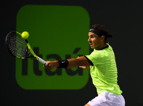 Rafael Nadal of Spain hits a backhand shot during a match against Jack Sock at Crandon Park Tennis Center on March 29, 2017 in Key Biscayne, Florida. (March 28, 2017 - Source: Rob Foldy/Getty Images North America)