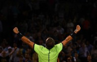 Rafael Nadal of Spain gestures after winning the match against Jack Sock at Crandon Park Tennis Center on March 29, 2017 in Key Biscayne, Florida. (March 16, 2017 - Source: Rob Foldy/Getty Images North America)