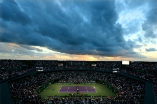 Rafael Nadal of Spain serves against Philipp Kohlscreiber of Germany during Day 7 of the Miami Open at Crandon Park Tennis Center on March 26, 2017 in Key Biscayne, Florida. (March 25, 2017 - Source: Al Bello/Getty Images North America)