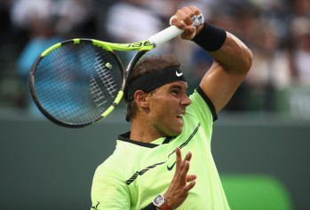 Rafael Nadal of Spain in action against Philipp Kohlschreiber of Germany at Crandon Park Tennis Center on March 26, 2017 in Key Biscayne, Florida. (March 25, 2017 - Source: Julian Finney/Getty Images North America)
