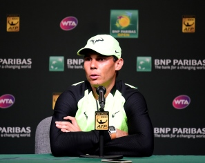 INDIAN WELLS, CA - MARCH 10: Rafael Nadal of Spain speaks to the media at a press conference before his doubles match at Indian Wells Tennis Garden on March 10, 2017 in Indian Wells, California. (Photo by Harry How/Getty Images)