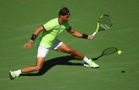 Rafael Nadal of Spain plays a forehand against Guido Pella of Argentina in their second round match during day six of the BNP Paribas Open at Indian Wells Tennis Garden on March 11, 2017 in Indian Wells, California.(March 12, 2017 - Source: Clive Brunskill/Getty Images North America)