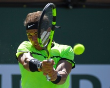 Rafael Nadal, of Spain, hits to Guido Pella, of Argentina, at the BNP Paribas Open tennis tournament, Sunday, March 12, 2017, in Indian Wells, Calif. (AP Photo/Mark J. Terrill)