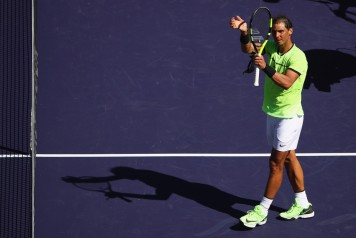Rafael Nadal of Spain celebrates to the crowd after his straight sets victory against Guido Pella of Argentina in their second round match during day seven of the BNP Paribas Open at Indian Wells Tennis Garden on March 12, 2017 in Indian Wells, California. (March 11, 2017 - Source: Clive Brunskill/Getty Images North America)