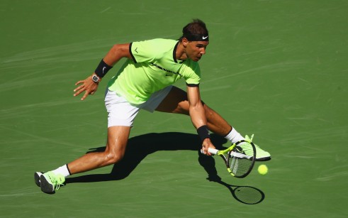 Rafael Nadal of Spain plays a forehand against Guido Pella of Argentina in their second round match during day six of the BNP Paribas Open at Indian Wells Tennis Garden on March 11, 2017 in Indian Wells, California. (March 12, 2017 - Source: Clive Brunskill/Getty Images North America)