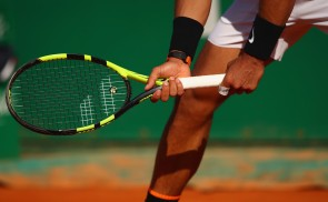 Rafael Nadal of Spain in action against David Goffin of Belgium in their semi final round match on day seven of the Monte Carlo Rolex Masters at Monte-Carlo Sporting Club on April 22, 2017 in Monte-Carlo, Monaco. (April 21, 2017 - Source: Clive Brunskill/Getty Images Europe)