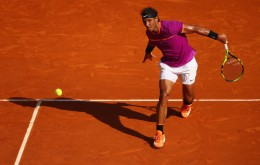 Rafael Nadal of Spain plays a backand against David Goffin of Belgium in their semi final round match on day seven of the Monte Carlo Rolex Masters at Monte-Carlo Sporting Club on April 22, 2017 in Monte-Carlo, Monaco. (April 21, 2017 - Source: Clive Brunskill/Getty Images Europe)