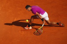Rafael Nadal of Spain plays a backand volley against David Goffin of Belgium in their semi final round match on day seven of the Monte Carlo Rolex Masters at Monte-Carlo Sporting Club on April 22, 2017 in Monte-Carlo, Monaco. (April 21, 2017 - Source: Clive Brunskill/Getty Images Europe)