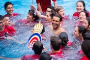 Rafael Nadal of Spain dives in the swimming pool with ballboys after his victory against Dominic Thiem of Austria in their final match on day seven of the Barcelona Open Banc Sabadell on April 30, 2017 in Barcelona, Spain. (April 29, 2017 - Source: Alex Caparros/Getty Images Europe)