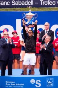 Rafael Nadal holds trophy Barcelona Open final 2017