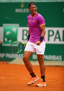 Rafael Nadal of Spain celebrates match point against Kyle Edmund of Great Britain in his second round match on day four of the Monte Carlo Rolex Masters at Monte-Carlo Sporting Club on April 19, 2017 in Monte-Carlo, Monaco. (April 18, 2017 - Source: Clive Brunskill/Getty Images Europe)