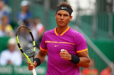 Rafael Nadal of Spain celebrates a point against Kyle Edmund of Great Britain in his second round match on day four of the Monte Carlo Rolex Masters at Monte-Carlo Sporting Club on April 19, 2017 in Monte-Carlo, Monaco. (April 18, 2017 - Source: Clive Brunskill/Getty Images Europe)