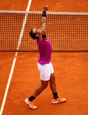 Rafael Nadal of Spain celebrates after his straight set victory against Albert Ramos-Vinolas of Spain in the final on day eight of the Monte Carlo Rolex Masters at Monte-Carlo Sporting Club on April 23, 2017 in Monte-Carlo, Monaco. (April 22, 2017 - Source: Clive Brunskill/Getty Images Europe)