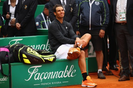 Rafael Nadal of Spain relaxes before the trophy presentation after his straight set victory against Albert Ramos-Vinolas of Spain in the final on day eight of the Monte Carlo Rolex Masters at Monte-Carlo Sporting Club on April 23, 2017 in Monte-Carlo, Monaco. (April 22, 2017 - Source: Clive Brunskill/Getty Images Europe)