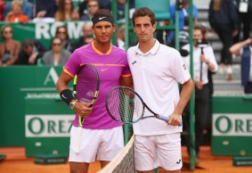 Rafael Nadal of Spain and Albert Ramos-Vinolas of Spain pose for a photograph at the net before the final on day eight of the Monte Carlo Rolex Masters at Monte-Carlo Sporting Club on April 23, 2017 in Monte-Carlo, Monaco. (April 22, 2017 - Source: Clive Brunskill/Getty Images Europe)