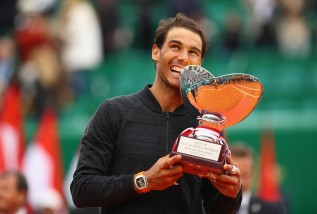 Rafael Nadal of Spain holds his winners trophy after his straight set victory against Albert Ramos-Vinolas of Spain in the final on day eight of the Monte Carlo Rolex Masters at Monte-Carlo Sporting Club on April 23, 2017 in Monte-Carlo, Monaco. (April 22, 2017 - Source: Clive Brunskill/Getty Images Europe)