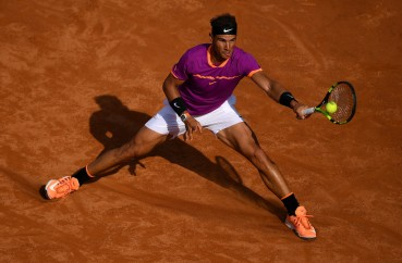 Rafael Nadal of Spain plays a shot during his quarter final match against Dominic Thiem of Austriain The Internazionali BNL d'Italia 2017 at Foro Italico on May 19, 2017 in Rome, Italy. (May 18, 2017 - Source: Gareth Copley/Getty Images Europe)