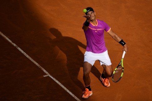 Rafael Nadal of Spain serves during his quarter final match against Dominic Thiem of Austriain The Internazionali BNL d'Italia 2017 at Foro Italico on May 19, 2017 in Rome, Italy. (May 18, 2017 - Source: Gareth Copley/Getty Images Europe)