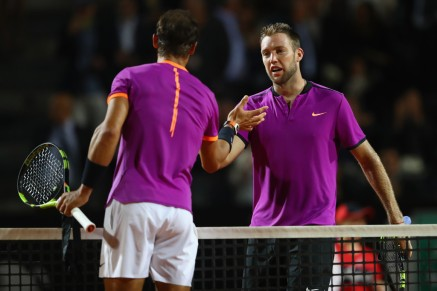 Jack Sock (R) of USA shakes hands after losing in straight sets to Rafael Nadal of Spain during the men's third round match against Jack Sock of USA on Day Five of the Internazionali BNL d'Italia 2017 at the Foro Italico on May 18, 2017 in Rome, Italy. (May 17, 2017 - Source: Michael Steele/Getty Images Europe)