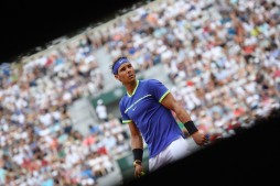 Spain's Rafael Nadal reacts after a point against France's Benoit Paire during their tennis match at the Roland Garros 2017 French Open on May 29, 2017 in Paris. / AFP PHOTO / Lionel BONAVENTURE (May 28, 2017 - Source: AFP)