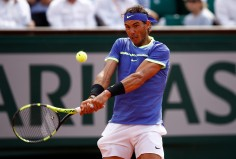 Rafael Nadal of Spain hits a backhand during the second roun match against Robin Haase of The Netherlands on day four of the 2017 French Open at Roland Garros on May 31, 2017 in Paris, France. (May 30, 2017 - Source: Adam Pretty/Getty Images Europe)