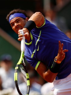 Rafael Nadal of Spain serves during the second roun match against Robin Haase of The Netherlands on day four of the 2017 French Open at Roland Garros on May 31, 2017 in Paris, France. (May 30, 2017 - Source: Adam Pretty/Getty Images Europe)