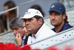 Toni Nadal and Carlos Moya watch on as Rafael Nadal of Spain plays Dominic Thiem of Austria in the final during day nine of the Mutua Madrid Open tennis at La Caja Magica on May 14, 2017 in Madrid, Spain. (May 13, 2017 - Source: Julian Finney/Getty Images Europe)